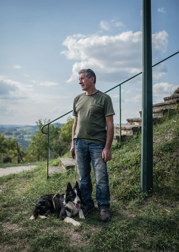 Jean-Pierre Vaujour, truffle grower and his dog