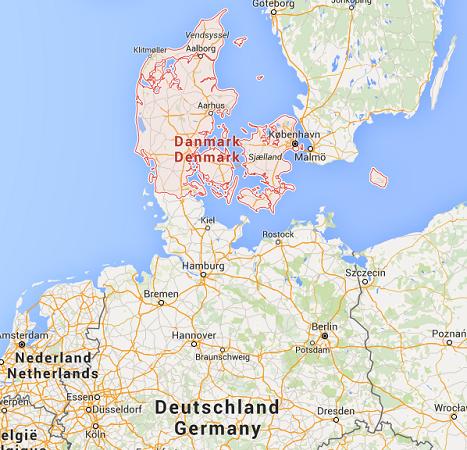 Le Danemark va contrôler ses frontières avec l'Allemagne - DR : Google Maps
