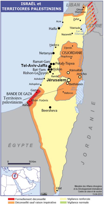 La carte des recommandations du Quai d'Orsay sur Israël et les Territoires palestiniens - DR : MAE