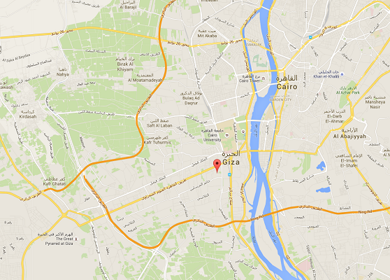 LEs deux hommes ont tiré sur l'autocar alors qu'il se trouvait sur l'avenue Al Haram au Caire - DR : Google Maps