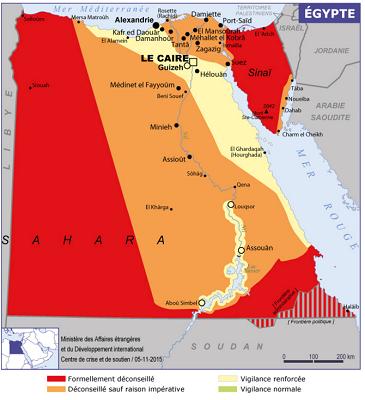 La carte des recommandations du MAE sur l'Egypte - DR : Conseils aux Voyageurs