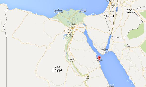 Hurghada est une station balnéaire égyptienne située sur les bords de la Mer Rouge - DR : Google Maps
