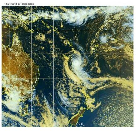 Le cyclone tropical ULA s'éloigne progressivement de la Nouvelle-Calédonie par le Sud- DR : securite-civile.nc
