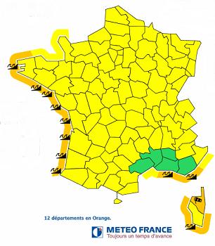 12 départements en vigilance orange dont 11 pour des risques de vagues-submersion - DR : Météo France