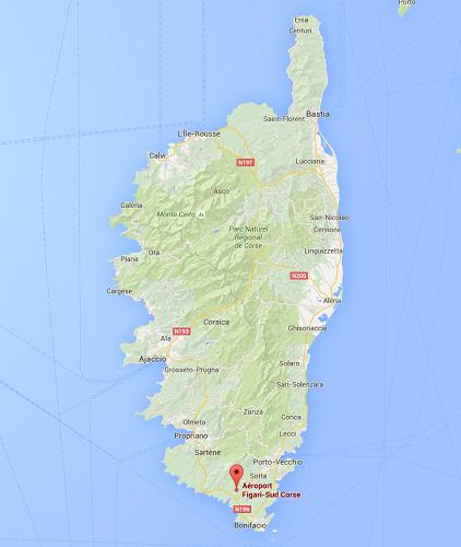 Les vents violents perturbent les décollages et les atterrissages à Figari et Calvi, en Corse - DR : Google Maps