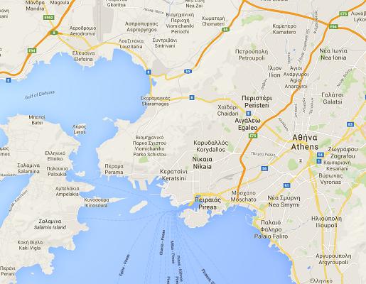 Le grand port maritime du Pirée est situé à une trentaine de kilomètres de la capitale Athènes - DR : Google Maps