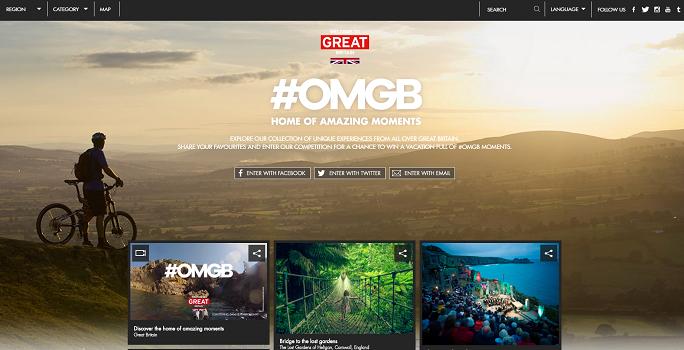 La campagne de communication de VisitBritain vise, entre autres, à attirer les visiteurs sur un site Internet mis en ligne pour l'occasion - Capture d'écran