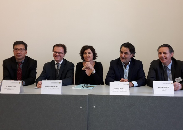 Pierre Shi (ID Travel Pro), Julien Boullay (Marseille Provence Airport), Isabelle Brémond (Bouches-du-Rhône Tourism), Bruno James (CRT PACA), and Maxime Tissot (TO Marseille) during a Press conference in Marseille - Photo CE
