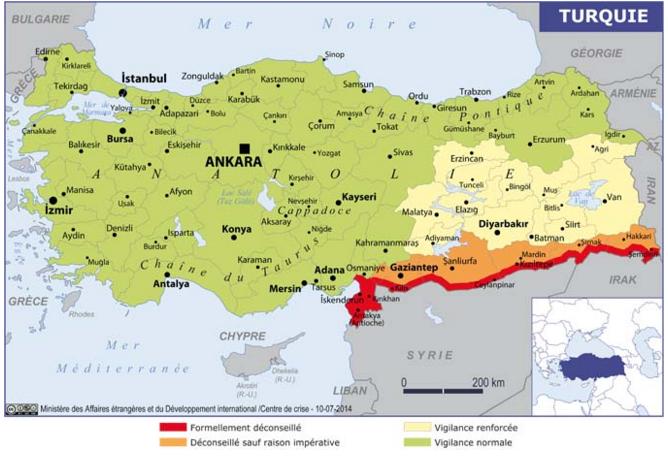 La carte des recommandation du Quai d'Orsay sur la Turquie - DR : Conseils aux Voyageurs