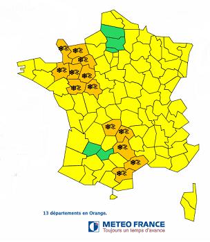13 départements du Nord-Ouest et du Sud de la France sont en vigilance orange pour des risques liés aux chutes de neige et au verglas - DR : Météo France