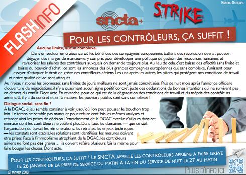 Le flash du SNCTA appelant les contrôleurs aériens à se mettre en grève le 26 janvier 2016 - DR : SNCTA