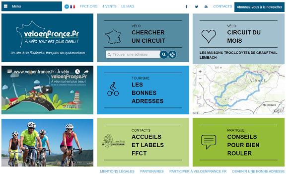 VeloenFrance.fr est le nouveau site Internet de la Fédération française de cyclotourisme - Capture d'écran