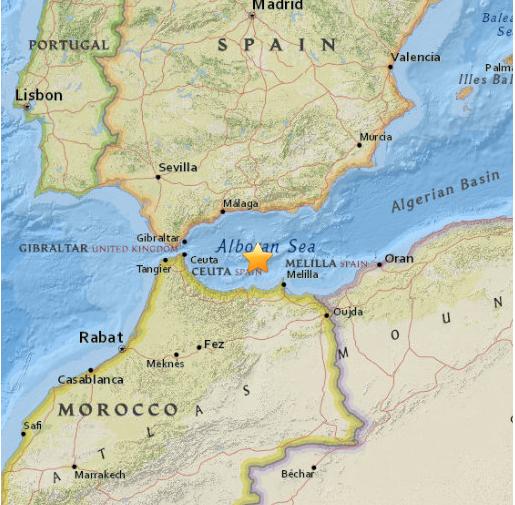 Le séisme a été enregistré au Nord de la ville marocaine d'Al Hoceïma - DR : USGS