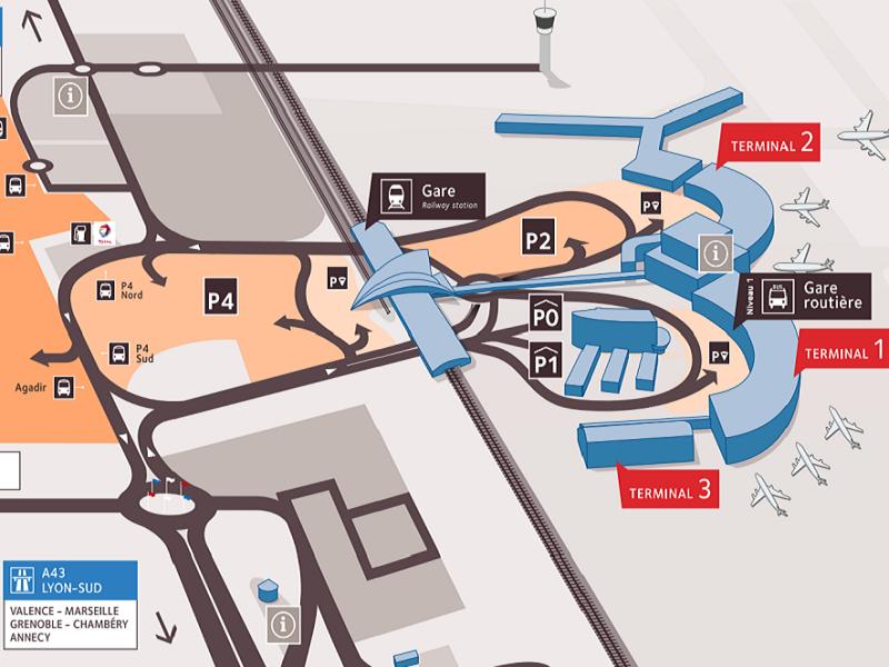 """Les navettes des parkings privés situés autour de l'aéroport Lyon-Saint Exupéry ne pourront plus prendre en charge et transporter leurs clients jusqu'aux """"Dépose-minute"""" des terminaux 1, 2 et 3 - DR : Aéroports de Lyon"""