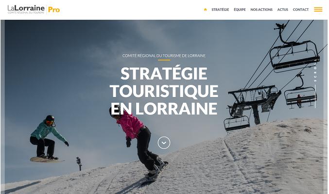 Le design du nouvel espace pro du site du CRT Lorraine est épuré - Capture d'écran