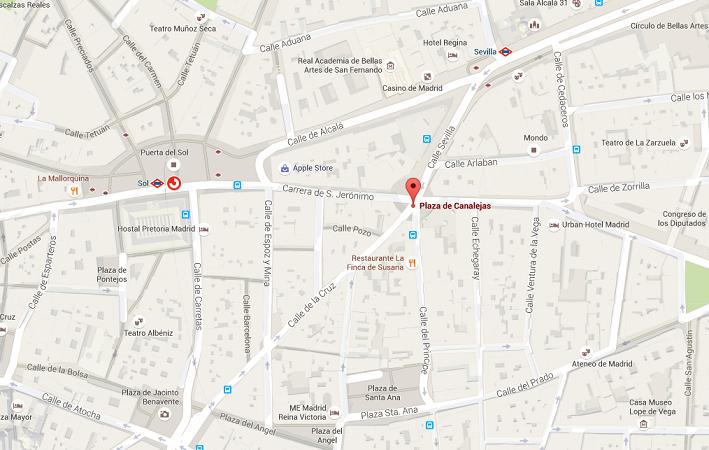 Le W Madrid sera situé sur la Plaza de Canalejas, près de la Puerta del Sol - DR : Google Maps