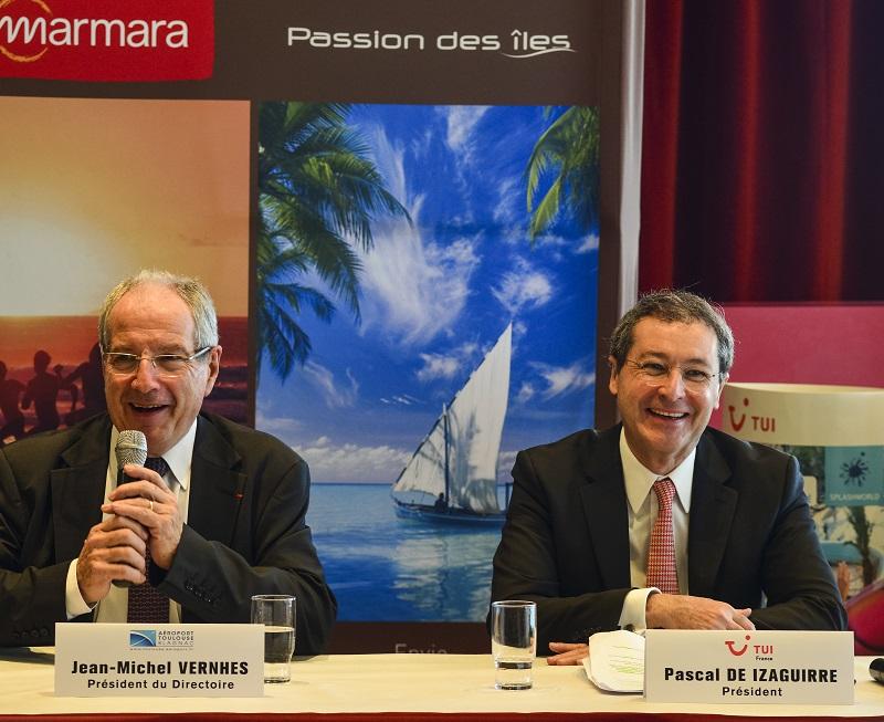 Pascal de Izaguirre - Président de TUI France et Jean Michel Verhnes - Président du Directoire d'ATB) - Credit photo copyright Guillaume Serpault - Aéroport Toulouse Blagnac