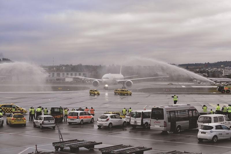 Le Boeing 777-300ER de Swiss arrive à Zurich - DR : Swiss Int. Airlines