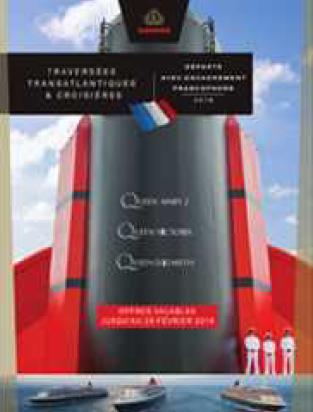 La brochure est dédiée à l'offre d'encadrement francophone renforcé à bord des navires de Cunard - DR : Cunard