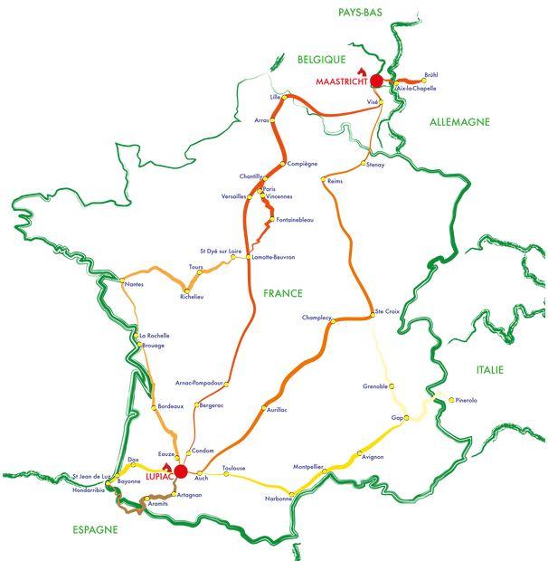 Carte de la Route D'Artagnan