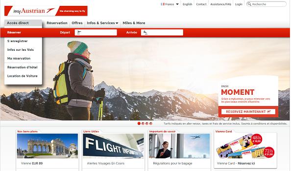 Les vols vers Séoul pourront désormais être réservés sur Austrian.com - Capture d'écran