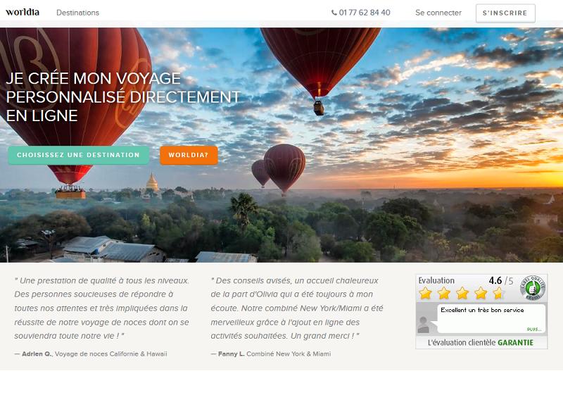 Le site Internet de Worldia, qui permet de créer directement en ligne ses voyages à la carte - Capture écran