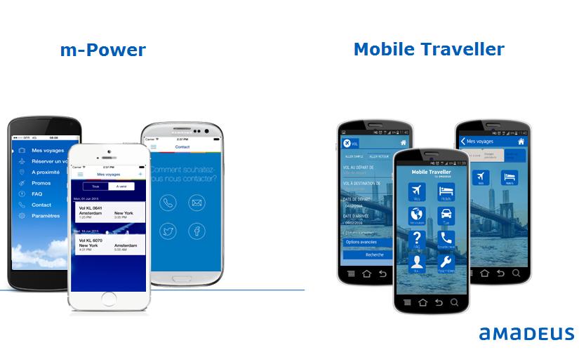 Les produits Amadeus : m-Power l'appli mobilité customisable aux couleurs de l'agence et Mobile Traveller (c) Amadeus