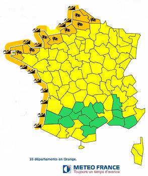 Météo France place 16 départements de la façade ouest en vigilance orange - DR : Météo France