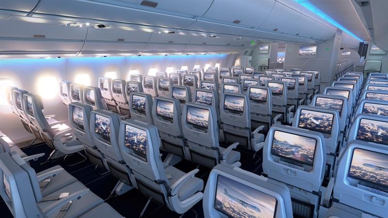 Les 208 sièges de la classe économie de la nouvelle cabine A350 de Finnair possèdent des écrans plat de 11 pouces. DR-Finnair.