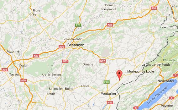L'accident s'est produit à Montbenoit, dans le Doubs, au Sud-Est de Besançon - DR : Google Maps