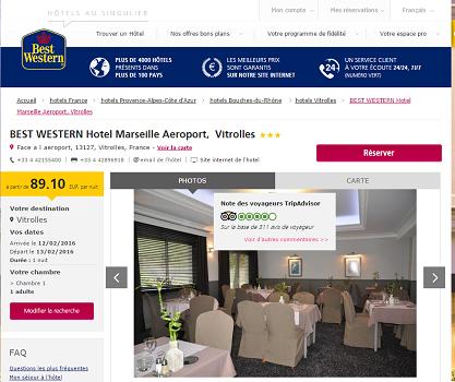 Les prix vont augmenter de plus de 1100 % au Best Western Vitrolles pendant l'Euro 2016 - Capture d'écran
