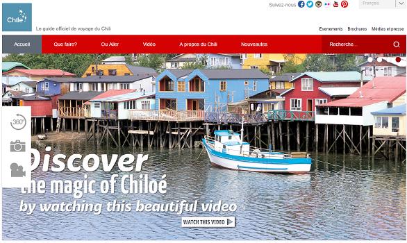 Capture d'écran du site Internet de Chile Travel