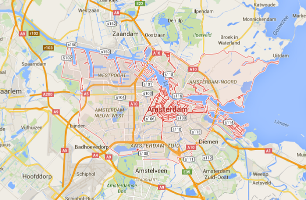 Les voitures diesel et essence ne pourront plus accéder au centre-ville d'Amsterdam à partir de 2025 - DR : Google Maps