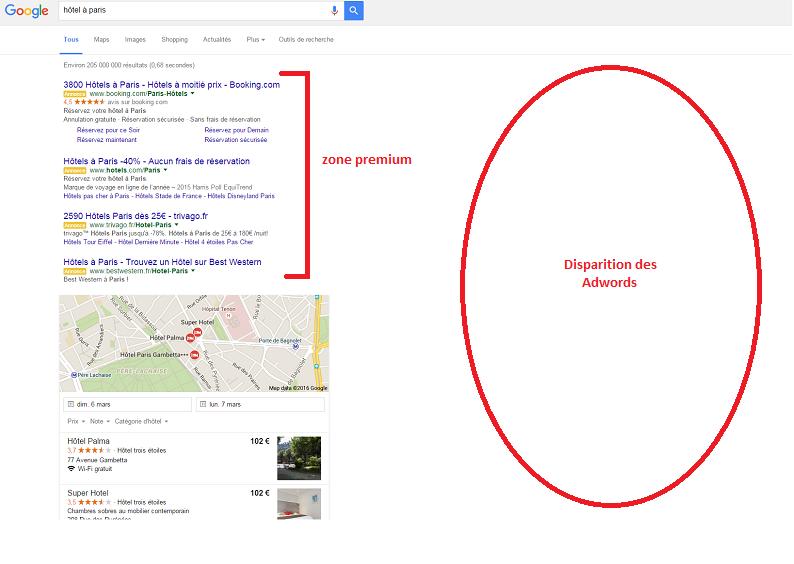 Google retire AdWords de la barre latérale et ajoute une 4ème pub en zone premium (c) Capture d'écran google