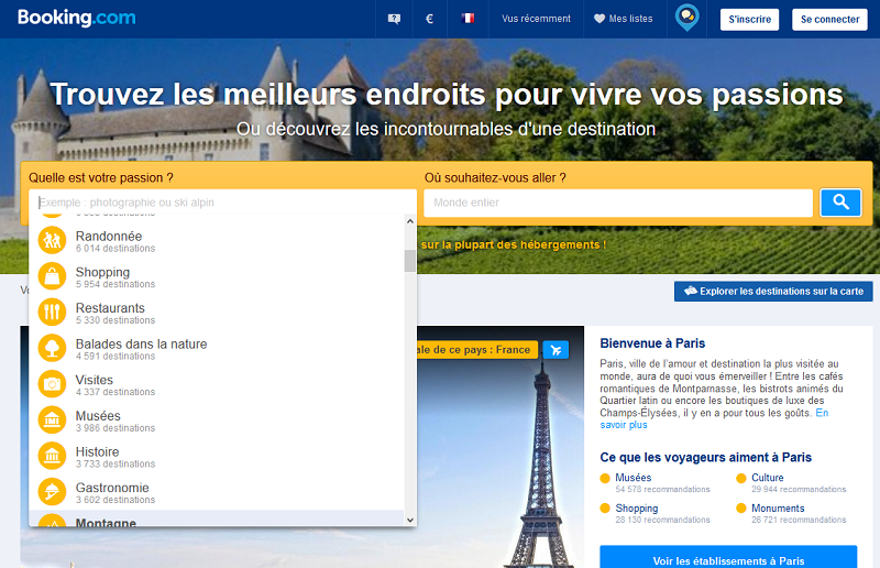 Booking.com lance un nouveau moteur de recherche basé sur les passions - Copie écran du site Booking