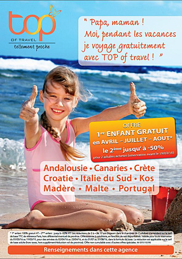 TOP Of travel : offre «enfant gratuit»  sur 9 destinationspour les vacances de Pâques
