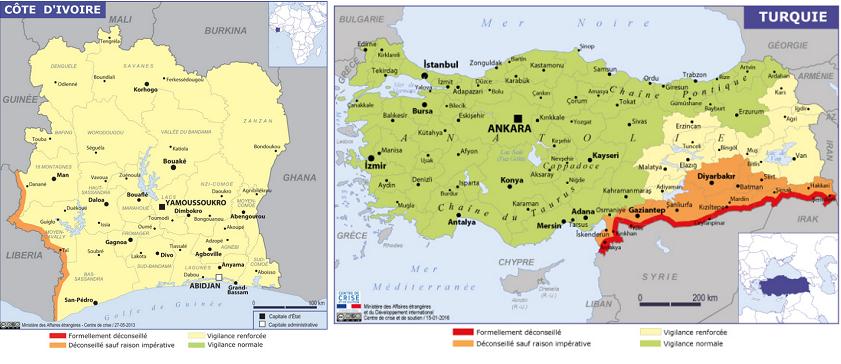 Le Quai d'Orsay a mis à jour les fiches de la Turquie et de la Côte d'Ivoire dans ses Conseils aux Voyageurs - DR : Conseils aux Voyageurs