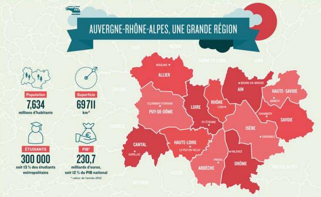 La nouvelle région Auvergne Rhône-Alpes s'étend sur un vaste territoire - Capture d'écran