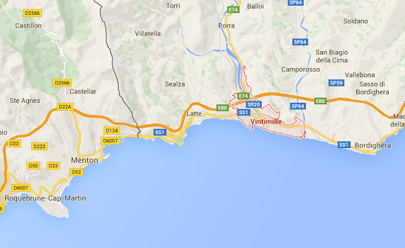 Le trafic sera perturbé entre Menton et Vintimille dans les deux sens - DR : Google Maps