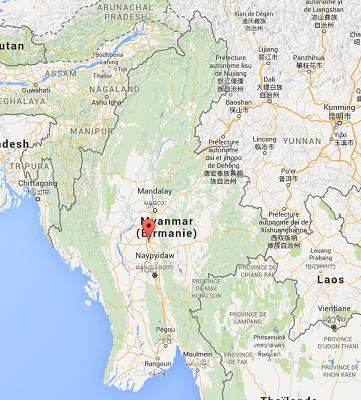 Les cas de méningite sont enregistrés dans le district de Meikhtila, dans la région de Mandalay, en Birmanie - DR : Google Maps