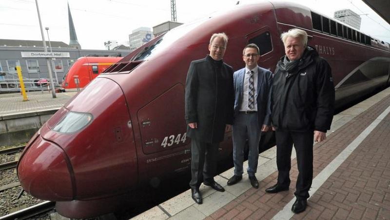 Stefan Schreiber (directeur général IHK Dortmund), Sandro Löw (secrétaire général Thalys International), Ullrich Sierau (maire de Dortmund) ©Stadt Dortmund / Anja Kador