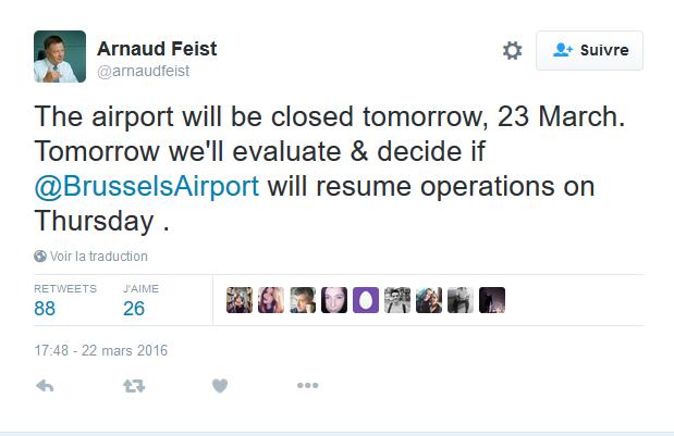 L'aéroport de Bruxelles Zaventem fermé mercredi 23 mars