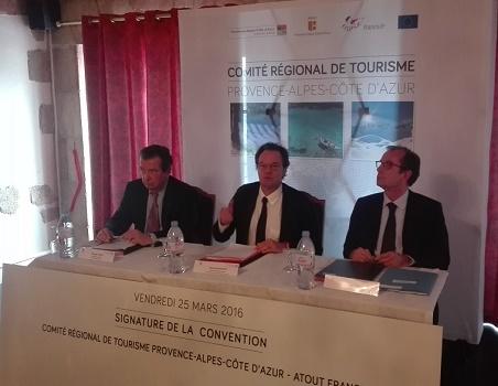 De gauche à droite : Philippe Faure, président d'Atout France, Renaud Muselier, président du CRT PACA, et Christian Mantei, directeur général d'Atout France - Photo P.C.