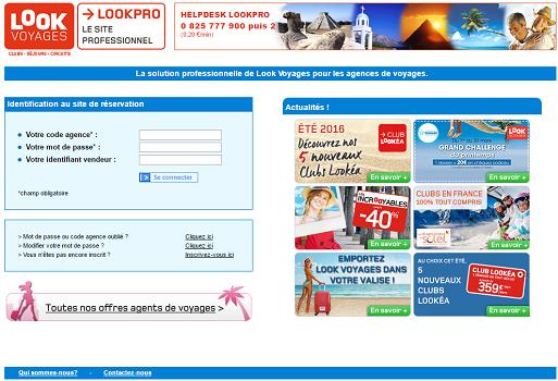 Capture d'écran du site BtoB de Look Voyages