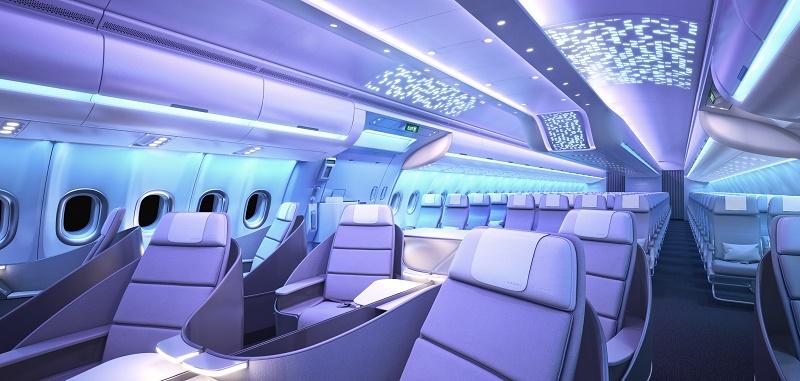 La nouvelle cabine du prochain A330neo s'inspire de l'intérieur de l'A350 XWB et du concept Airspace by Airbus - DR : Airbus