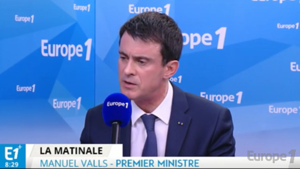 Manuel Valls was invited to Europe 1 on Wednesday March 23rd, 2016 - Screen shot