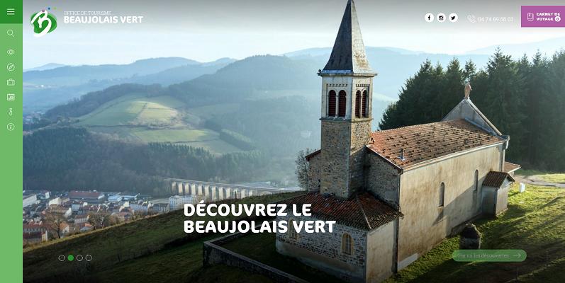 Le nouveau site de Beaujolais Vert Tourisme affiche une page d'accueil au design moderne - Capture d'écran