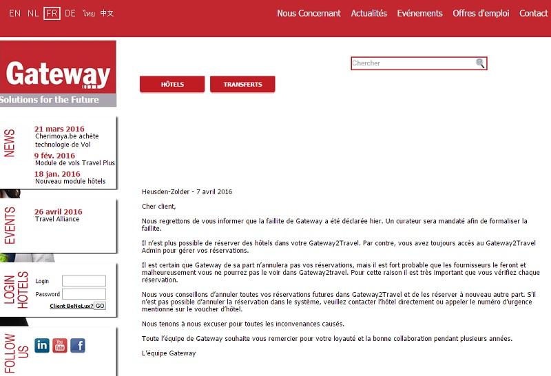 Belgique : la plate-forme Gateway a fait faillite