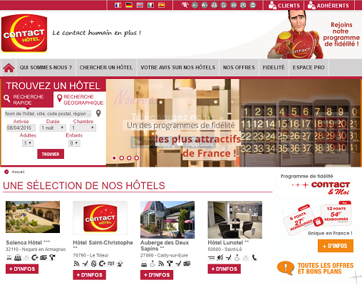 Contact Hôtel va lancer une nouvelle version de son site Internet en 2016 - Capture d'écran