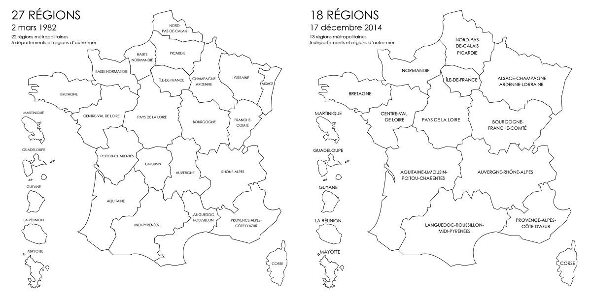 Les régions françaises avant et après la réforme territoriale - DR : Fotolia.com